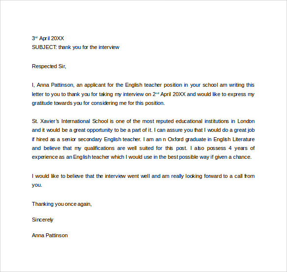 Thank You Letter To Teacher 11 Download Free Documents