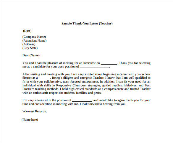Thank You Letter To Teacher   Download Free Documents In Pdf Word