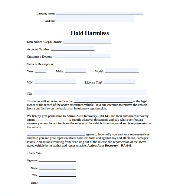 Release And Hold Harmless Agreement Template Waiver And