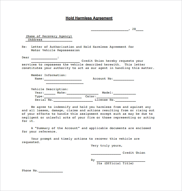 Hold Harmless Agreement 11 Download Documents In PDF