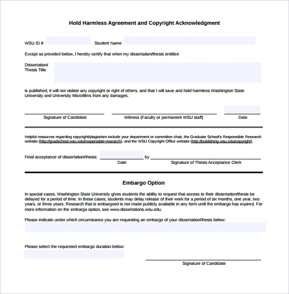 Hold Harmless Agreement Pdf  Project Management Software And Training