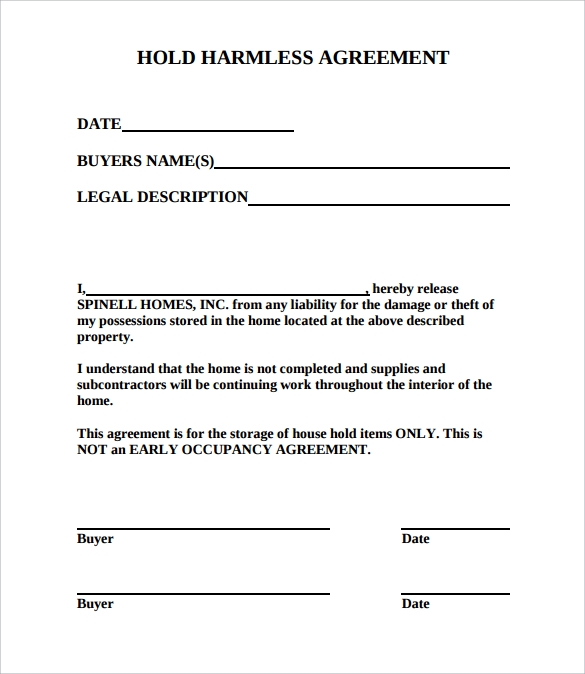 A Hold Harmless Agreement Is A File Kept Prepared With Due Respect To All  The Legal Considerations Invoked By The Court Which Assures That The Person  Would ...