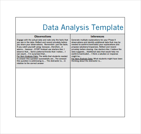 data analysis worksheet template