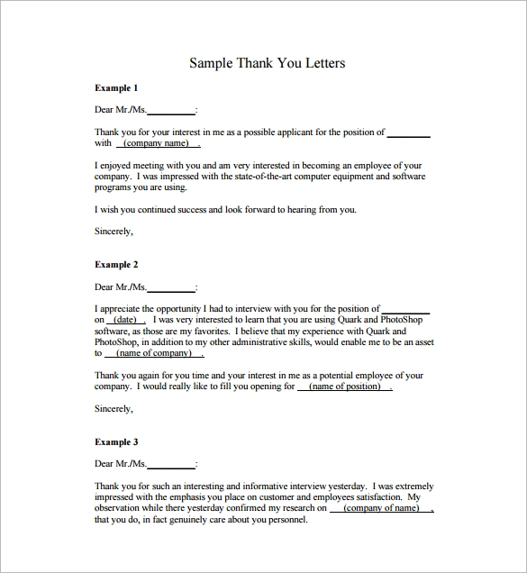 Thank You Letters For Appreciation   Examples In Pdf Word