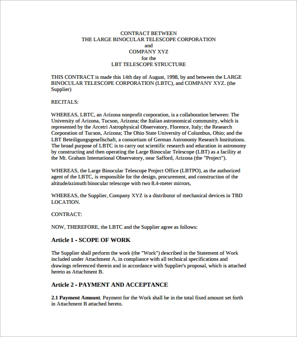 Contract Agreement Templates Sample Templates - Contracts and agreements templates