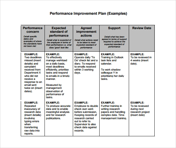 Sample Performance Improvement Plan Template  Plan Template