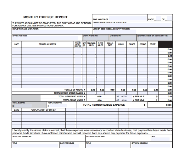 sample monthly expense report