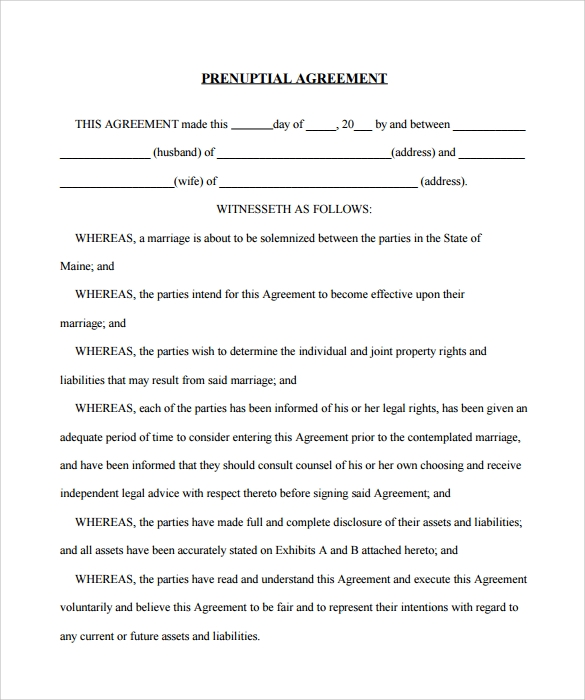 9 Sample Free Prenuptial Agreement Templates To Download