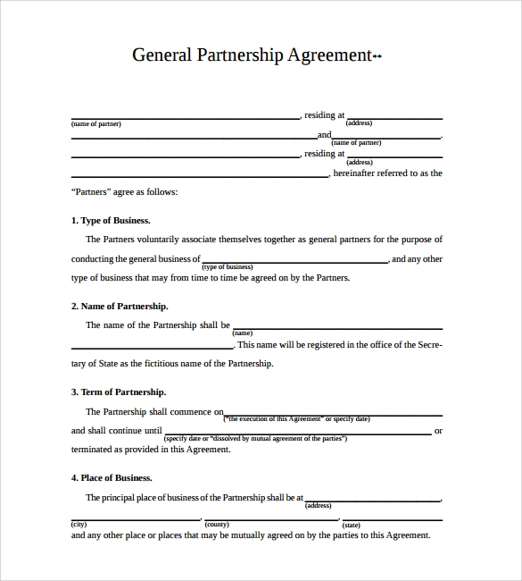 Partnership Agreement This General Partnership Agreement Simple