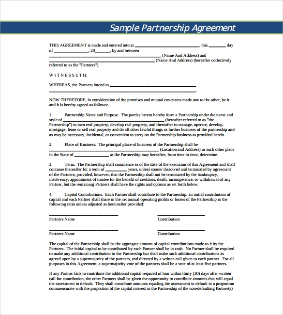 11 sample business partnership agreement templates to download sample business partnership agreement pdf accmission Image collections