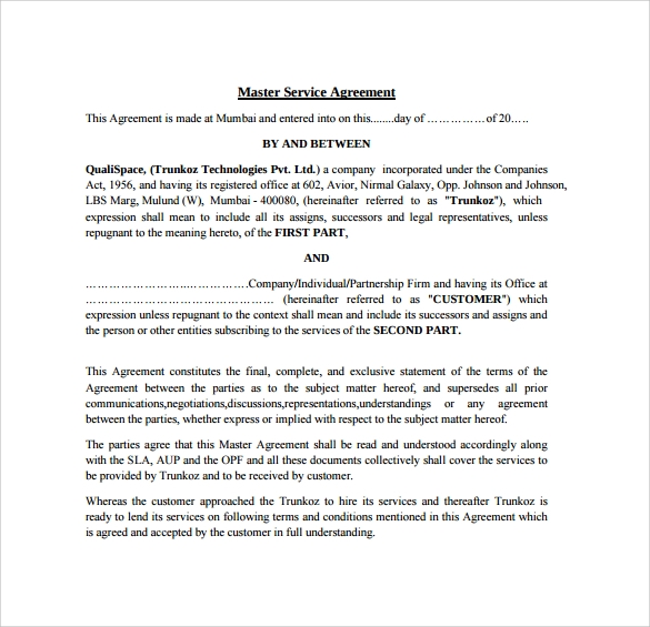 master service agreement to download