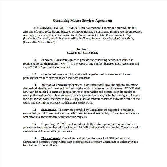 consultant contract template free download - master service agreement 10 download free documents in