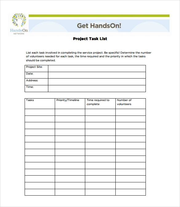 Project Task List Pdf  Project Task List Template Word