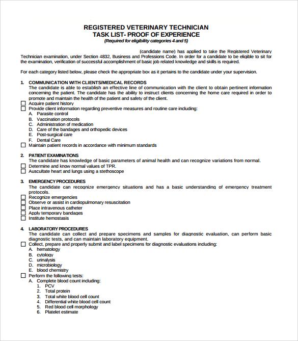 job task list