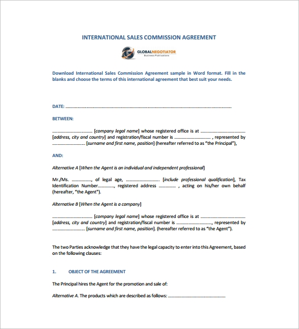 international sales commission agreement pdf free download