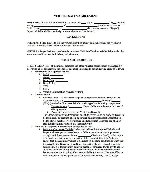 Car sales agreement template word friedricerecipe Gallery