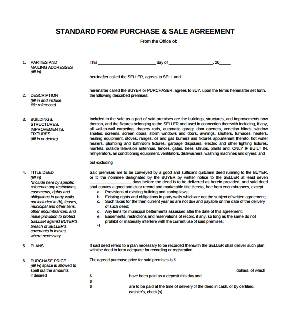 purchase and sales agreement free download in pdf