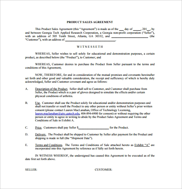 product sales agreement free pdf template download