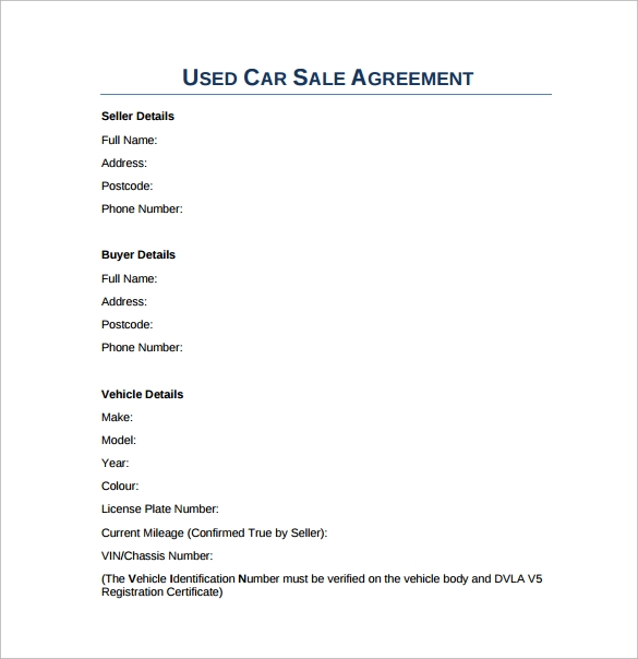 used car sales agreement pdf template free download