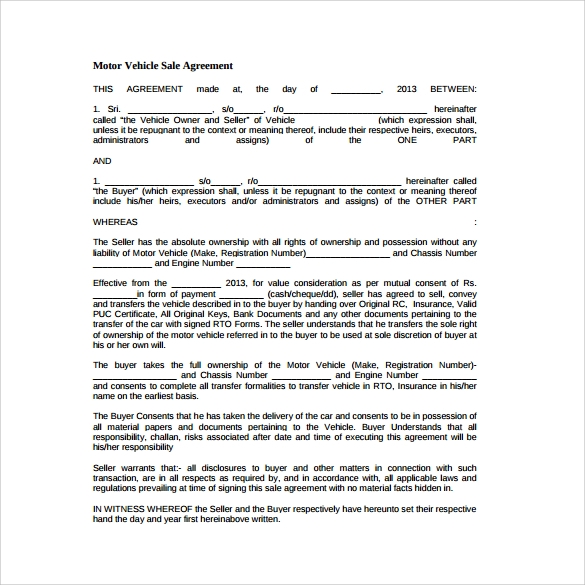 motor vehicle sale agreement free download in pdf