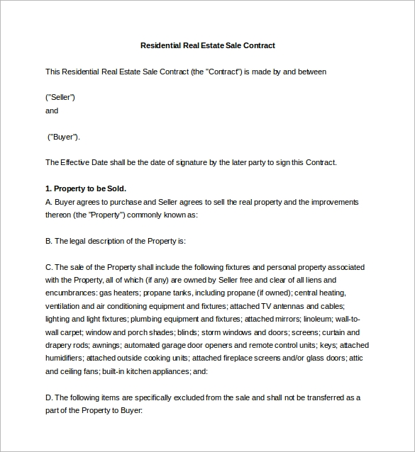 residential real estate sale agreement word free download1