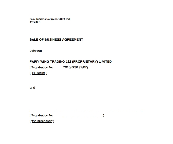 Business Sales Agreement PDF Template Free Download  Agreement Template Free