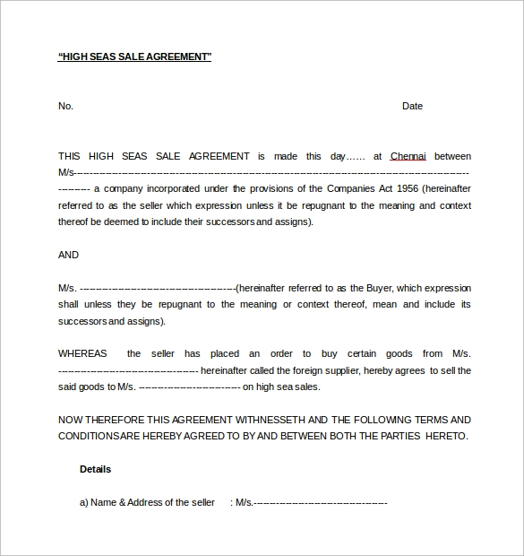 Sales Agreement 10 Download Free Documents In Word PDF