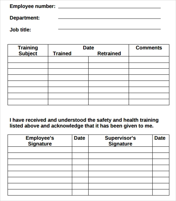 Employee-Training-Log-Template Examples Of Employee Coaching Forms on risk management form example, change management form example, project management form example, performance appraisal form example,