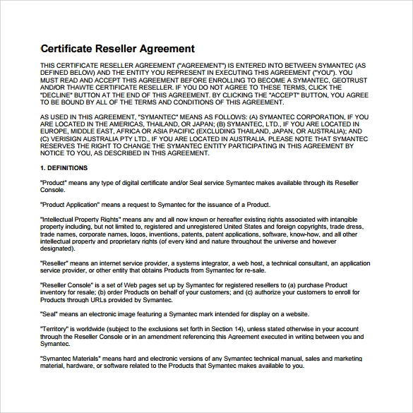 Doc600650 Reseller Agreement Template Reseller Agreement 7 – Trading Agreement Template
