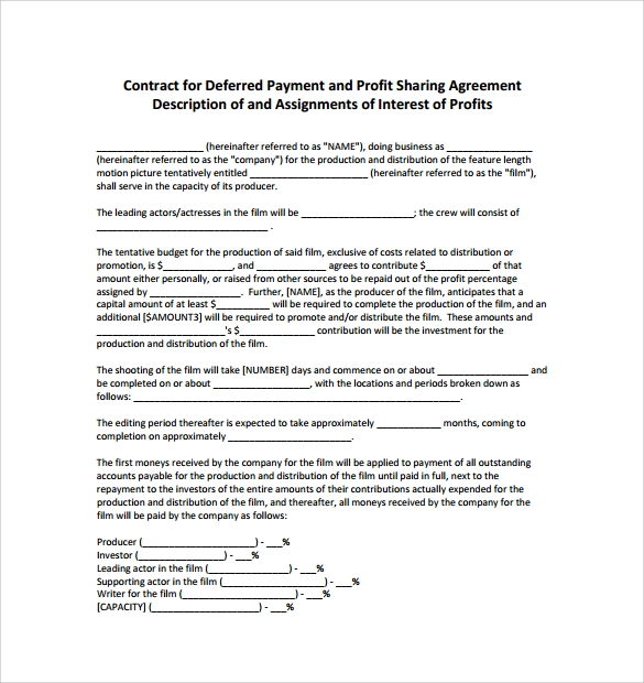 Production Contract Templates Basic Profit Sharing Agreement