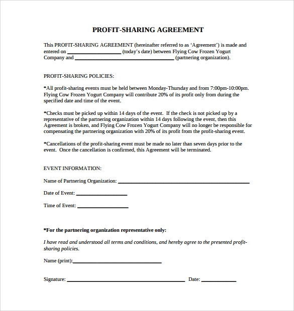 Sample Profit Sharing Agreement   Free Documents In  Doc