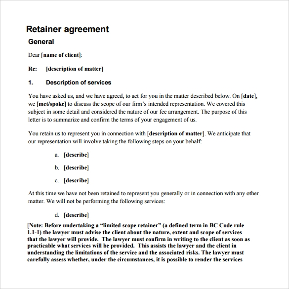 Retainer Agreement 9 Download Free Documents In PDF – Retainer Agreement Template