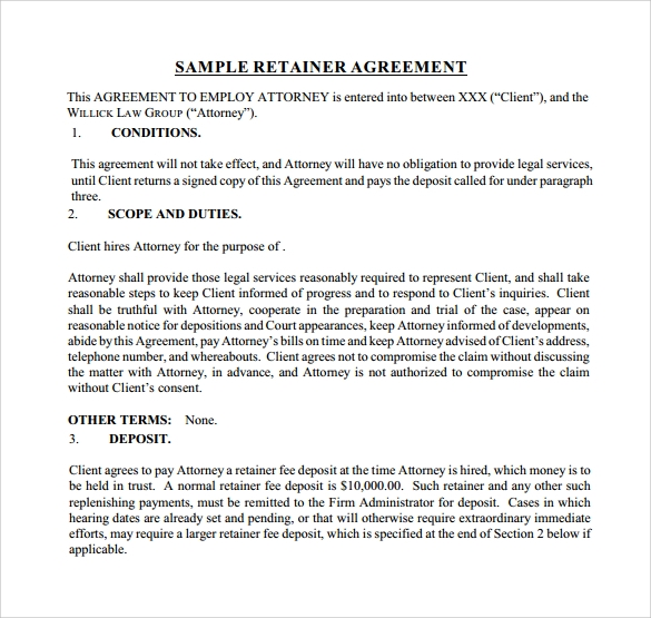 Sample Retainer Agreement Template Legal Services Retainer