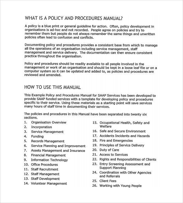 Policy and procedure template 10 download documents in pdf for Small business operations manual template free