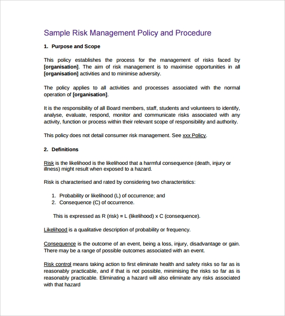risk management policy and procedure