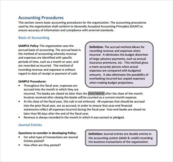 Accounting policies and procedures manual of a for Board policy manual template