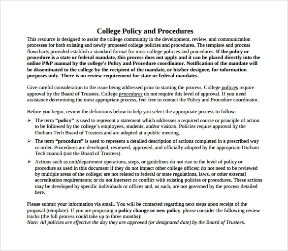college policy and procedure template