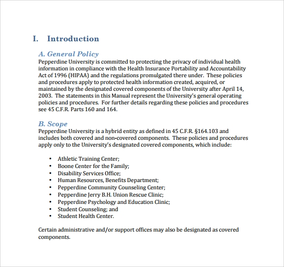 general policy and procedure template