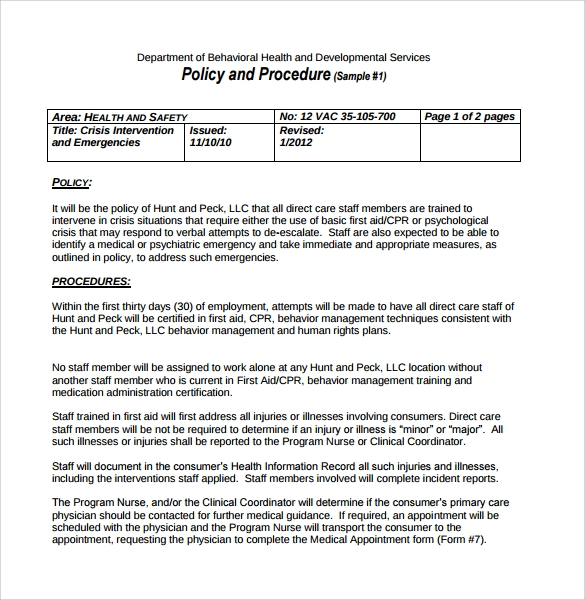 Policy And Procedure Template   Download Documents In Pdf