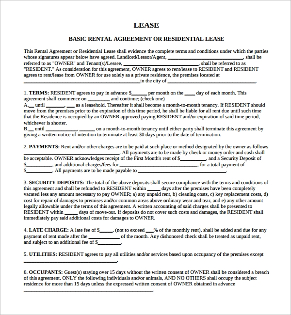Sample Lease Agreement 13 Free Documents In Pdf
