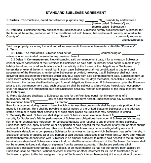 10 Sample Lease Agreement Templates To Download