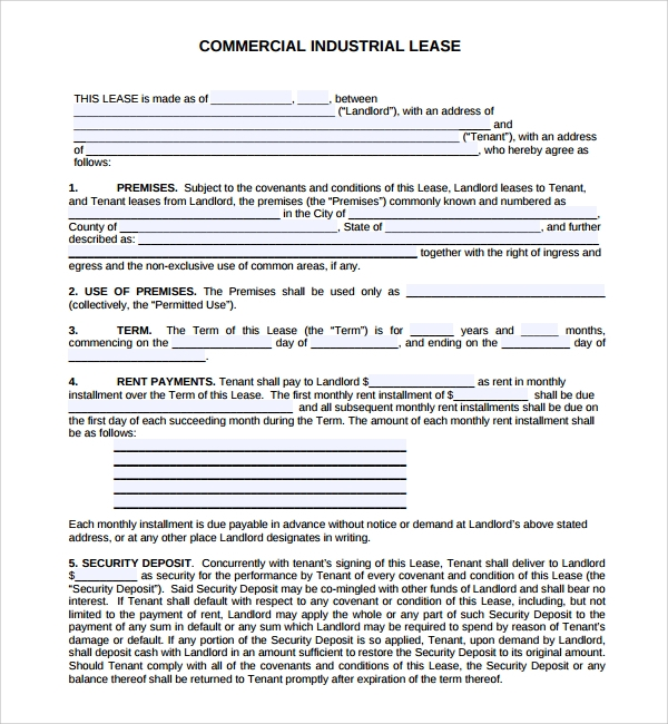 industrial commercial sample lease agreement