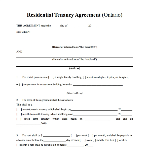 residential tenancy sample agreement template