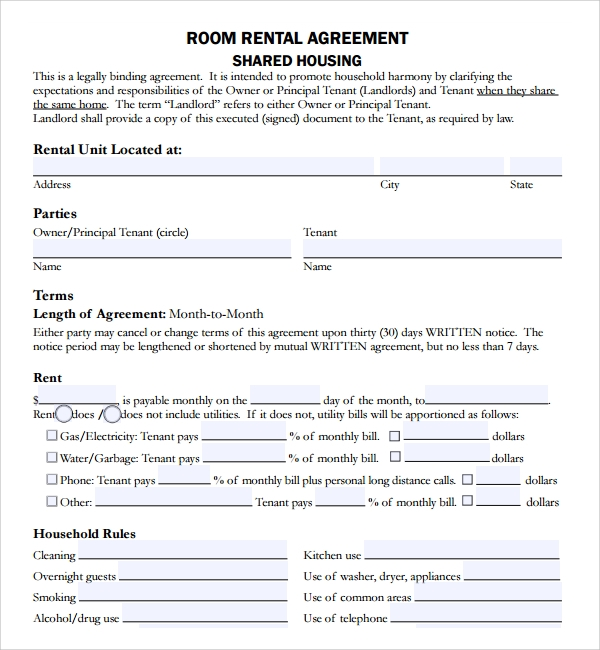 room renrtal lease agreemnet template
