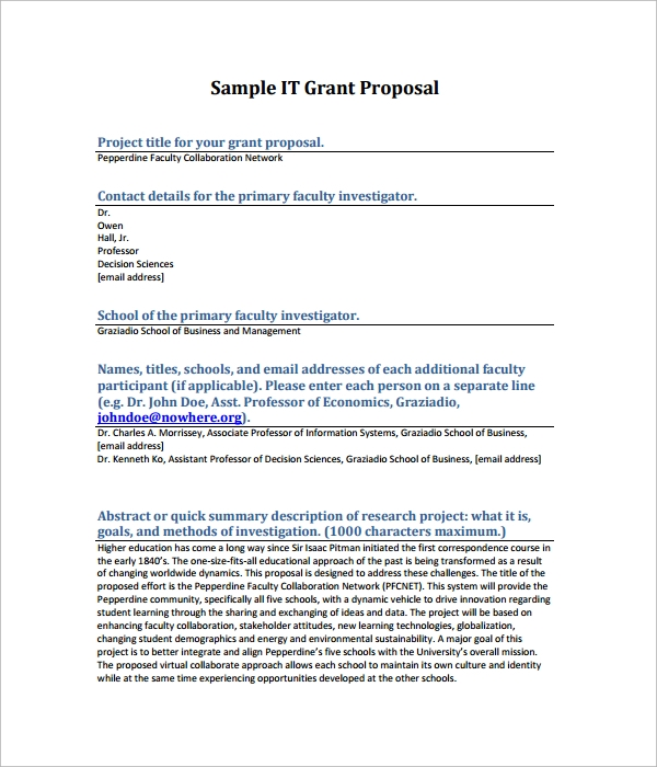 sample it grant proposal