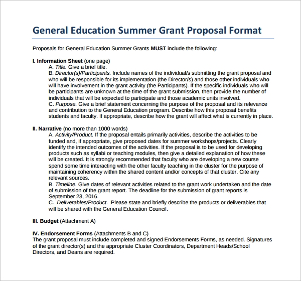 education grant proposal format