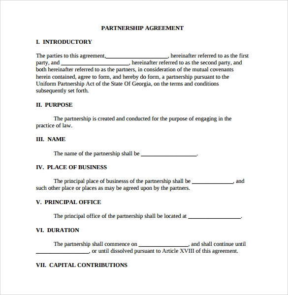 printable partnership agreement template