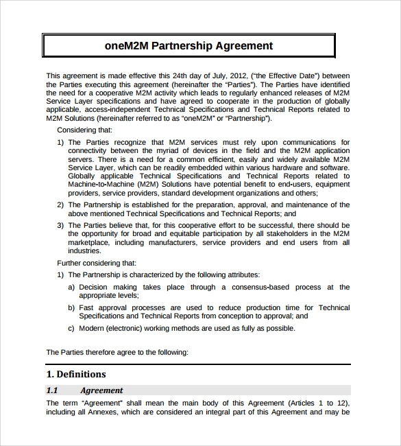 Business agreement template related articles with for Articles of partnership template