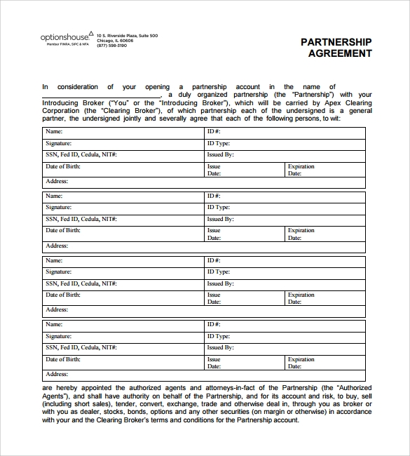 16 partnership agreement templates sample templates for Option house com