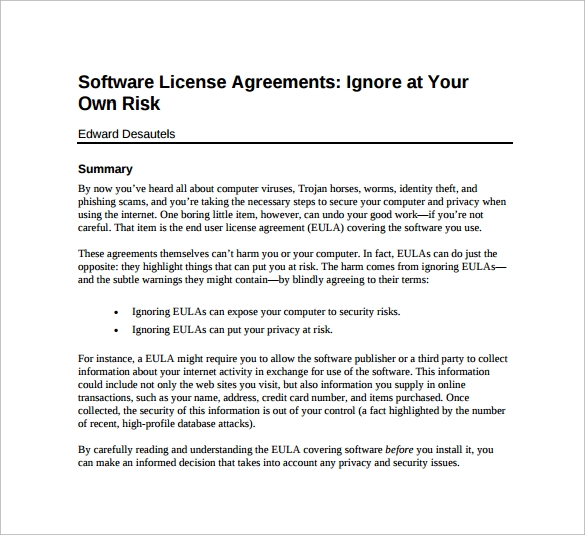 example of useful software license agreement